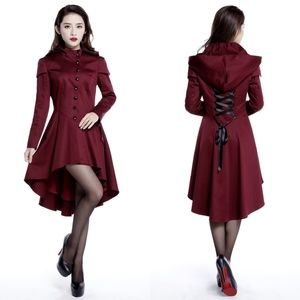 Jackets & Blazers - Plus Size Button Up Hood Long Coat Goth Burgundy